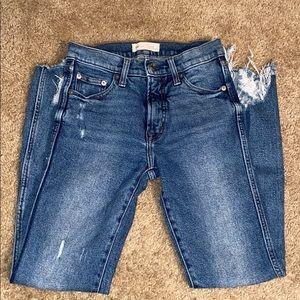 Gap high rise slim straight distressed hem jeans
